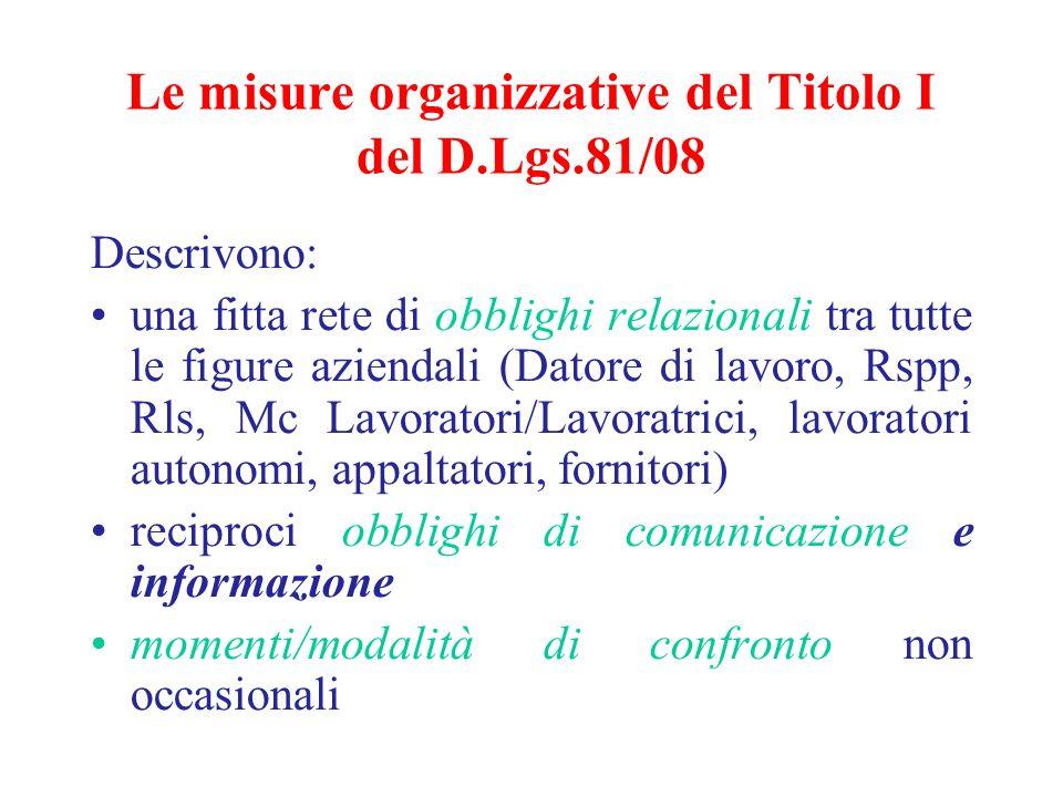 Le misure organizzative del Titolo I del D.Lgs.81/08 Descrivono: una fitta rete di obblighi relazionali tra tutte le figure aziendali (Datore di lavor