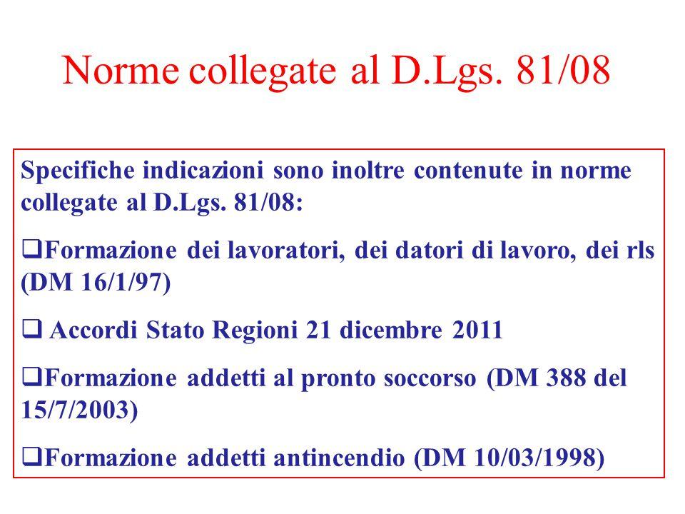 Norme collegate al D.Lgs. 81/08 Specifiche indicazioni sono inoltre contenute in norme collegate al D.Lgs. 81/08:  Formazione dei lavoratori, dei dat