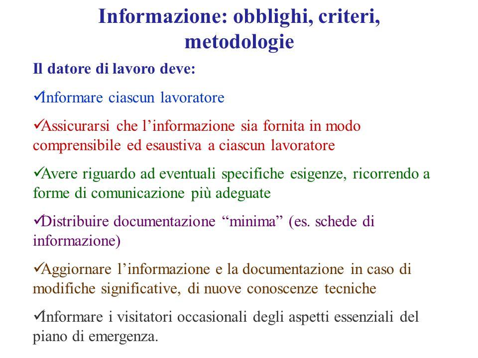 Informazione: obblighi, criteri, metodologie Il datore di lavoro deve: Informare ciascun lavoratore Assicurarsi che l'informazione sia fornita in modo