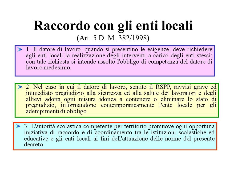 Raccordo con gli enti locali (Art.5 D. M. 382/1998) 1.