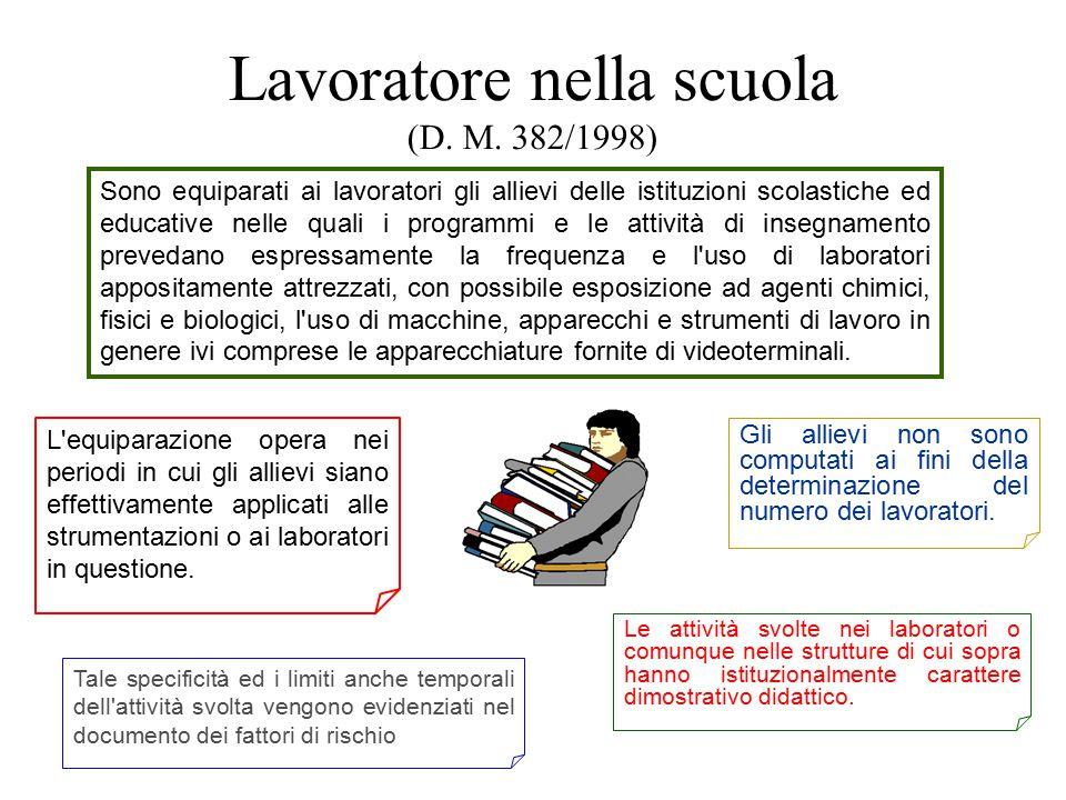 Lavoratore nella scuola (D. M. 382/1998) Sono equiparati ai lavoratori gli allievi delle istituzioni scolastiche ed educative nelle quali i programmi