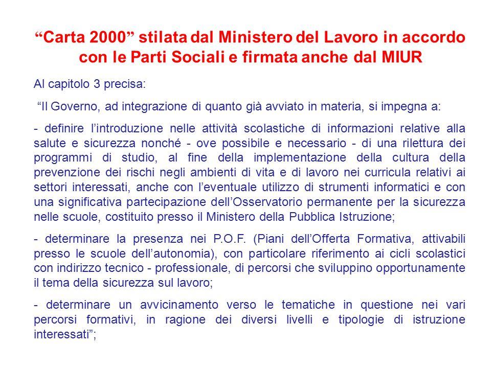 """"""" Carta 2000 """" stilata dal Ministero del Lavoro in accordo con le Parti Sociali e firmata anche dal MIUR Al capitolo 3 precisa: """"Il Governo, ad integr"""