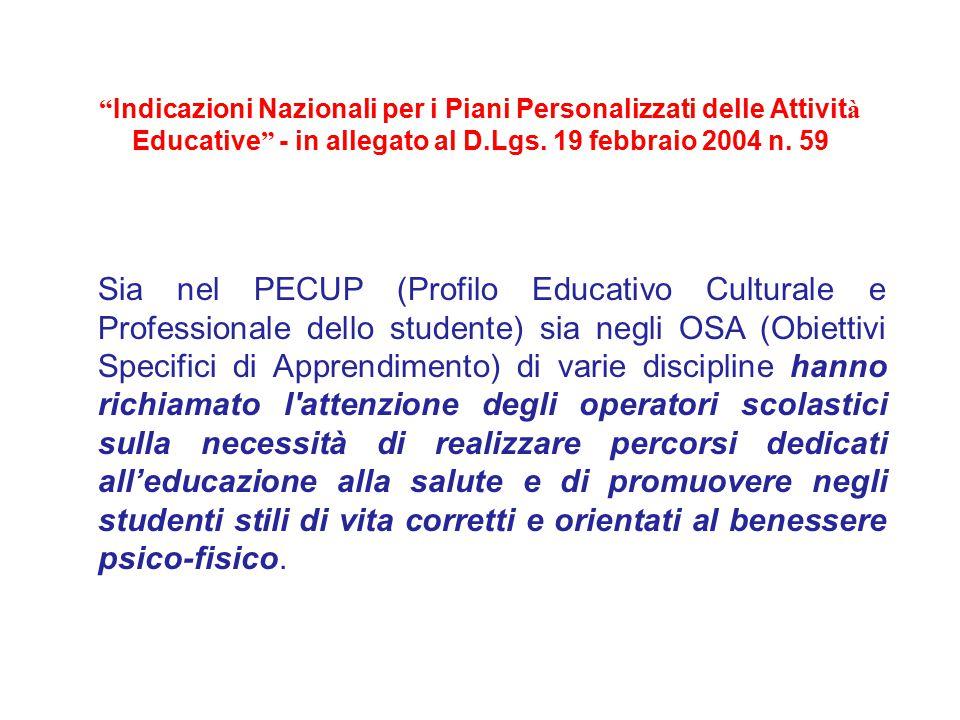""""""" Indicazioni Nazionali per i Piani Personalizzati delle Attivit à Educative """" - in allegato al D.Lgs. 19 febbraio 2004 n. 59 Sia nel PECUP (Profilo E"""