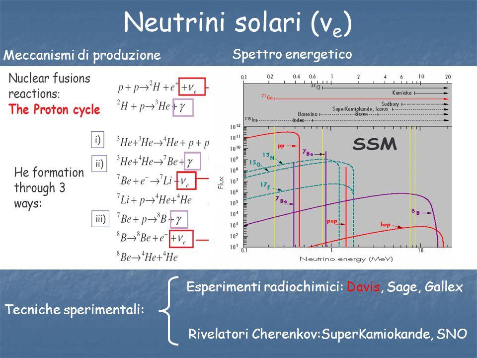 Neutrini solari (ν e ) Meccanismi di produzione Spettro energetico Tecniche sperimentali: Rivelatori Cherenkov:SuperKamiokande, SNO Esperimenti radioc