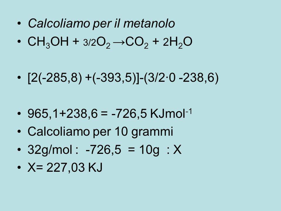 Calcoliamo per il metanolo CH 3 OH + 3/2 O 2 →CO 2 + 2 H 2 O [2(-285,8) +(-393,5)]-(3/2·0 -238,6) 965,1+238,6 = -726,5 KJmol -1 Calcoliamo per 10 gram