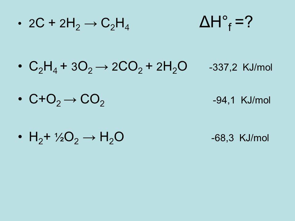 2 C + 2 H 2 → C 2 H 4 ΔH° f =? C 2 H 4 + 3 O 2 → 2 CO 2 + 2 H 2 O -337,2 KJ/mol C+O 2 → CO 2 -94,1 KJ/mol H 2 + ½ O 2 → H 2 O -68,3 KJ/mol
