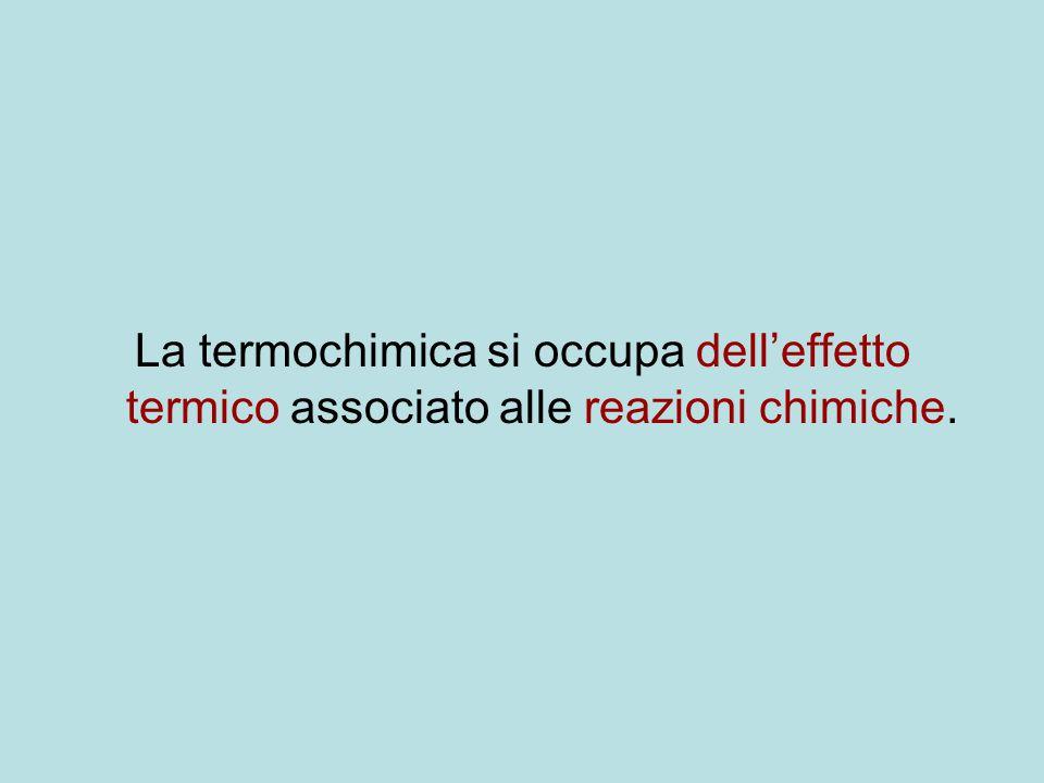 La termochimica si occupa dell'effetto termico associato alle reazioni chimiche.