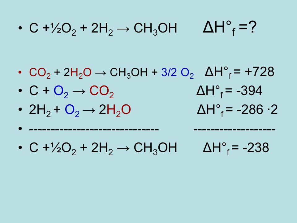C +½O 2 + 2H 2 → CH 3 OH ΔH° f =? CO 2 + 2H 2 O → CH 3 OH + 3/2 O 2 ΔH° f = +728 C + O 2 → CO 2 ΔH° f = -394 2H 2 + O 2 → 2H 2 O ΔH° f = -286 ·2 -----