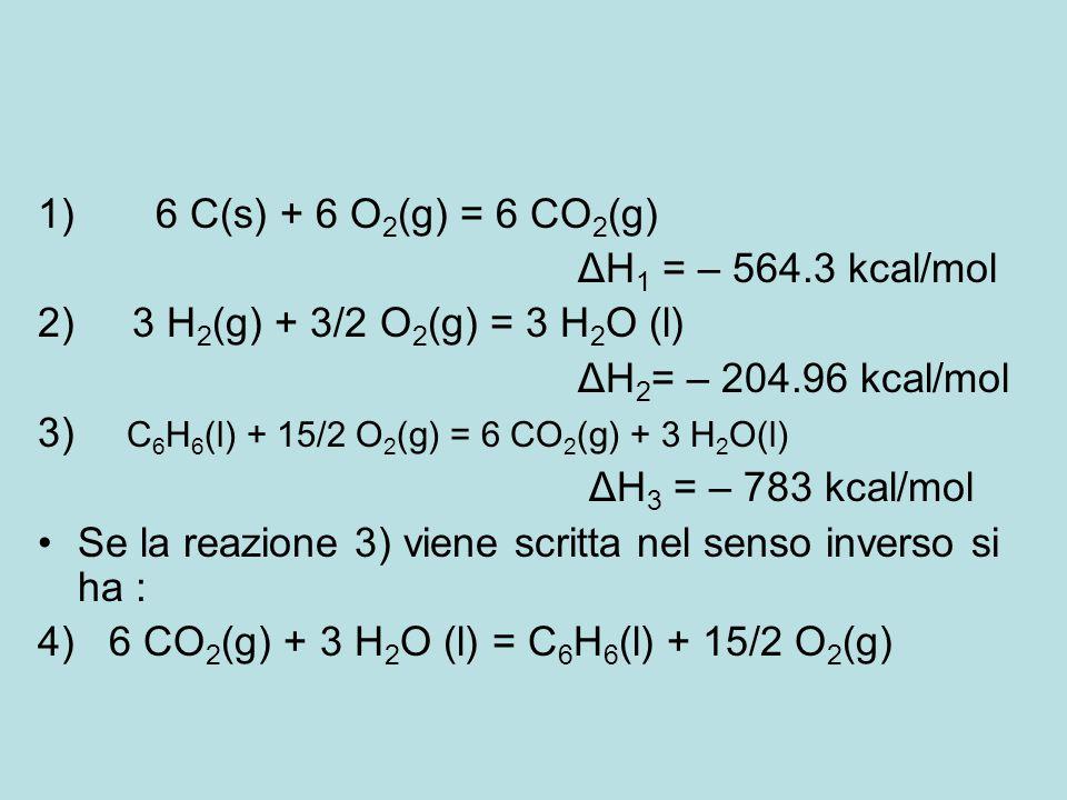 1) 6 C(s) + 6 O 2 (g) = 6 CO 2 (g) ΔH 1 = – 564.3 kcal/mol 2) 3 H 2 (g) + 3/2 O 2 (g) = 3 H 2 O (l) ΔH 2 = – 204.96 kcal/mol 3) C 6 H 6 (l) + 15/2 O 2