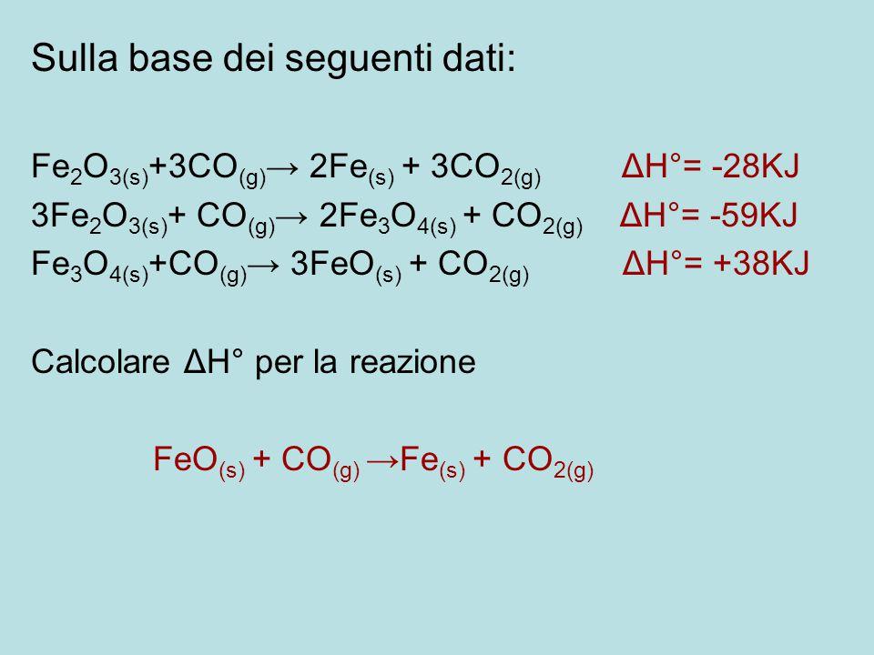 Sulla base dei seguenti dati: Fe 2 O 3(s) +3CO (g) → 2Fe (s) + 3CO 2(g) ΔH°= -28KJ 3Fe 2 O 3(s) + CO (g) → 2Fe 3 O 4(s) + CO 2(g) ΔH°= -59KJ Fe 3 O 4(
