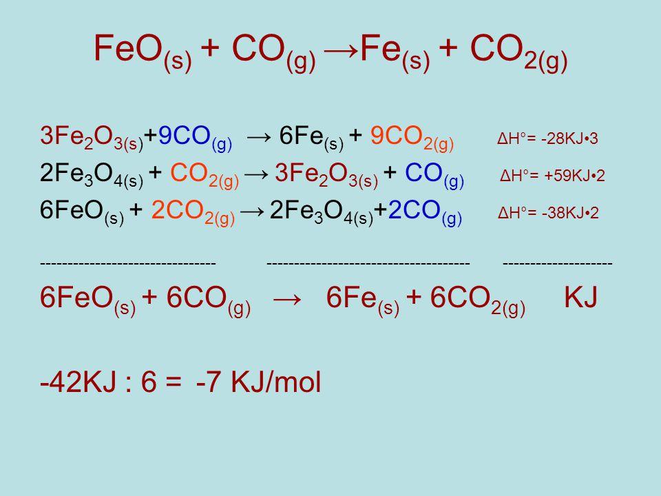 FeO (s) + CO (g) →Fe (s) + CO 2(g) 3Fe 2 O 3(s) +9CO (g) → 6Fe (s) + 9CO 2(g) ΔH°= -28KJ3 2Fe 3 O 4(s) + CO 2(g) → 3Fe 2 O 3(s) + CO (g) ΔH°= +59KJ2 6