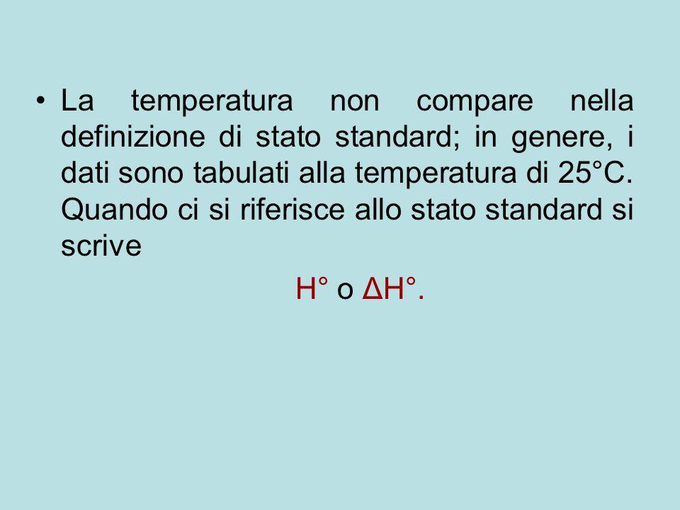 La temperatura non compare nella definizione di stato standard; in genere, i dati sono tabulati alla temperatura di 25°C. Quando ci si riferisce allo