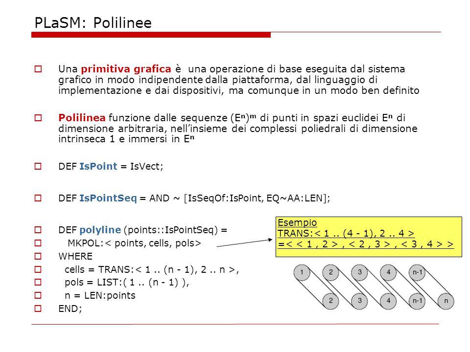 PLaSM: Polilinee  Una primitiva grafica è una operazione di base eseguita dal sistema grafico in modo indipendente dalla piattaforma, dal linguaggio di implementazione e dai dispositivi, ma comunque in un modo ben definito  Polilinea funzione dalle sequenze (E n ) m di punti in spazi euclidei E n di dimensione arbitraria, nell'insieme dei complessi poliedrali di dimensione intrinseca 1 e immersi in E n  DEF IsPoint = IsVect;  DEF IsPointSeq = AND ~ [IsSeqOf:IsPoint, EQ~AA:LEN];  DEF polyline (points::IsPointSeq) =  MKPOL:  WHERE  cells = TRANS:,  pols = LIST:( 1..