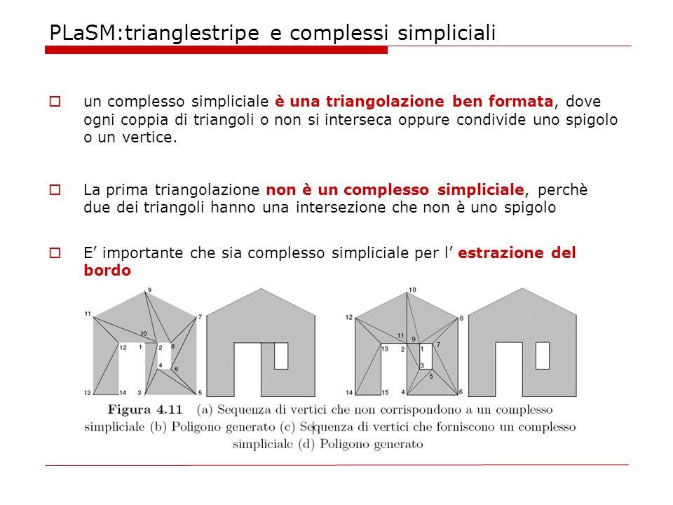 PLaSM:trianglestripe e complessi simpliciali  un complesso simpliciale è una triangolazione ben formata, dove ogni coppia di triangoli o non si interseca oppure condivide uno spigolo o un vertice.
