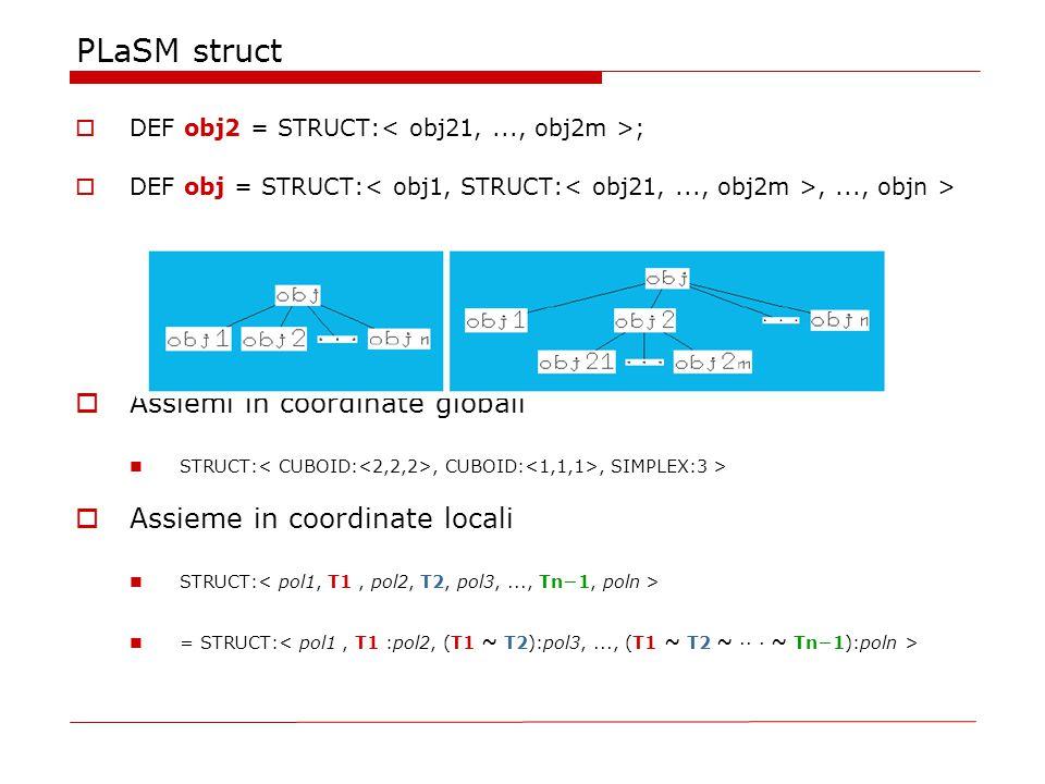 PLaSM struct  DEF obj2 = STRUCT: ;  DEF obj = STRUCT:,..., objn >  Assiemi in coordinate globali STRUCT:, CUBOID:, SIMPLEX:3 >  Assieme in coordinate locali STRUCT: = STRUCT: