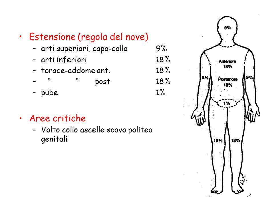 """Estensione (regola del nove) –arti superiori, capo-collo9% –arti inferiori18% –torace-addome ant.18% – """" """" post18% –pube1% Aree critiche –Volto collo"""