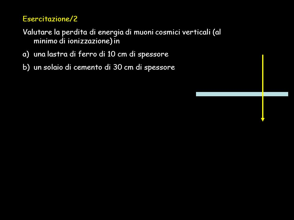 Esercitazione/2 Valutare la perdita di energia di muoni cosmici verticali (al minimo di ionizzazione) in a)una lastra di ferro di 10 cm di spessore b)
