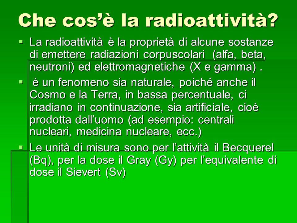 Che cos'è la radioattività?  La radioattività è la proprietà di alcune sostanze di emettere radiazioni corpuscolari (alfa, beta, neutroni) ed elettro