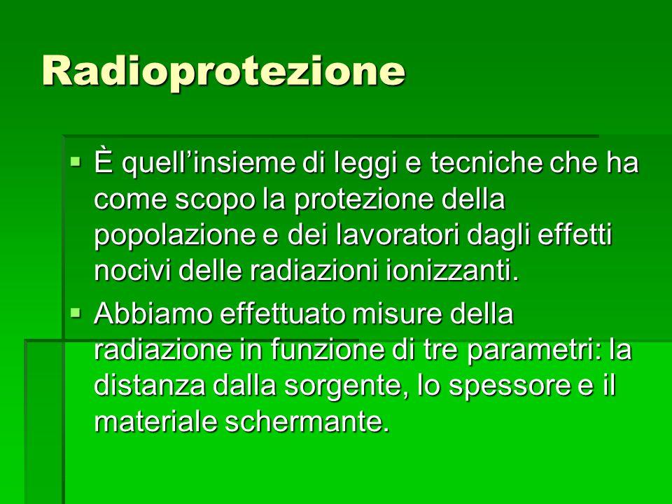 Radioprotezione  È quell'insieme di leggi e tecniche che ha come scopo la protezione della popolazione e dei lavoratori dagli effetti nocivi delle ra