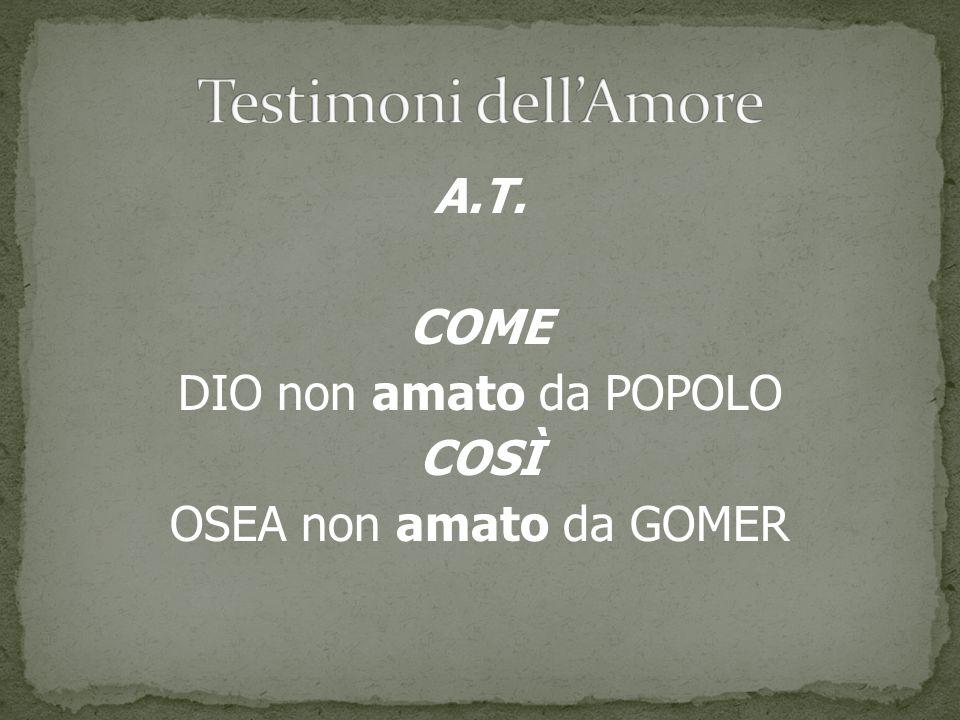 A.T. COME DIO non amato da POPOLO COSÌ OSEA non amato da GOMER