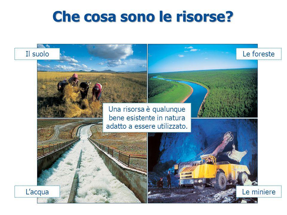Che cosa sono le risorse? Il suoloLe foreste L'acqua Una risorsa è qualunque bene esistente in natura adatto a essere utilizzato. Le miniere