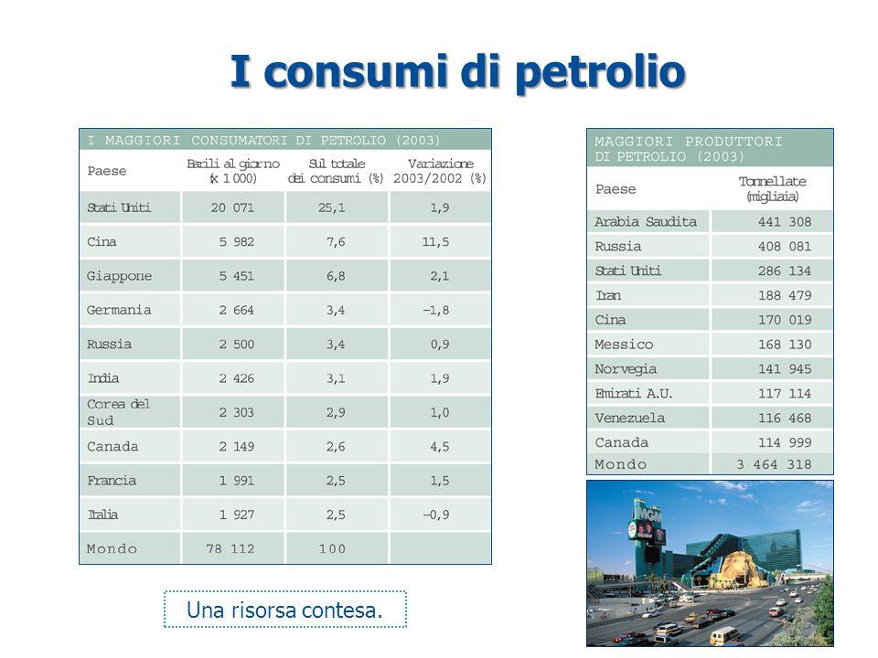 I consumi di petrolio Una risorsa contesa.