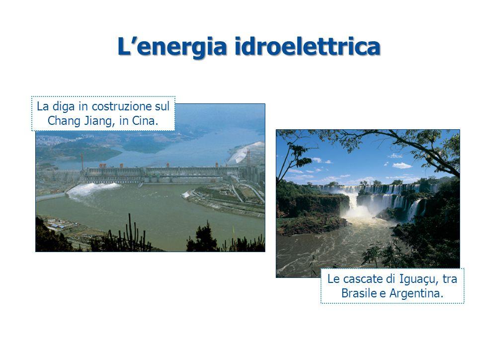 L'energia idroelettrica La diga in costruzione sul Chang Jiang, in Cina. Le cascate di Iguaçu, tra Brasile e Argentina.