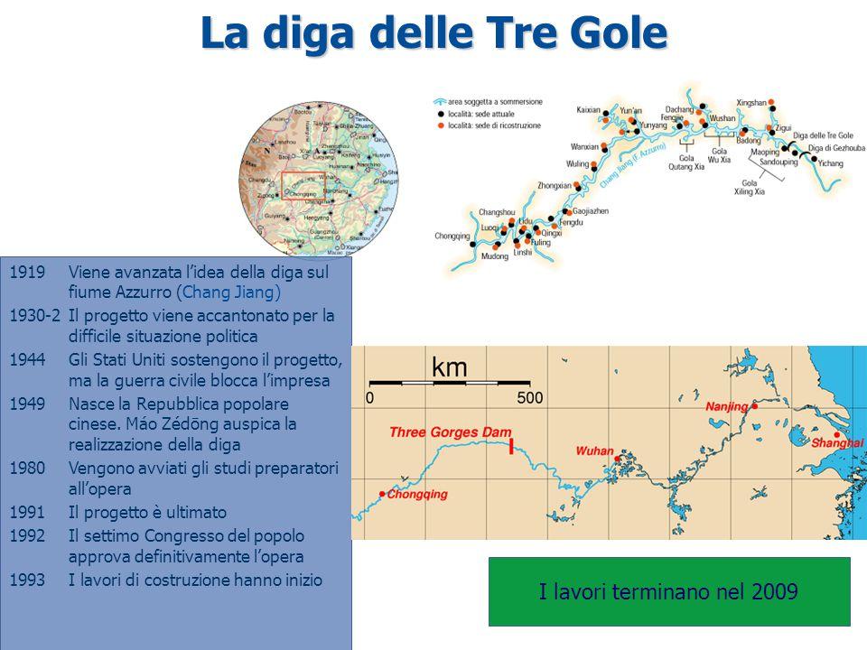 La diga delle Tre Gole I lavori terminano nel 2009 1919Viene avanzata l'idea della diga sul fiume Azzurro (Chang Jiang) 1930-2Il progetto viene accant
