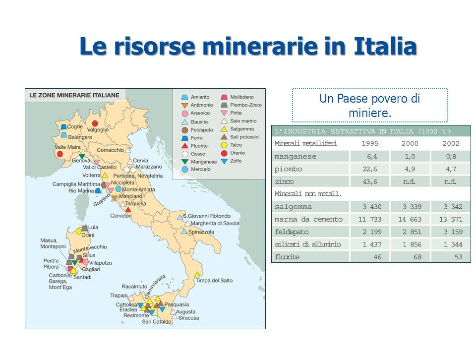 Le risorse minerarie in Italia Un Paese povero di miniere.
