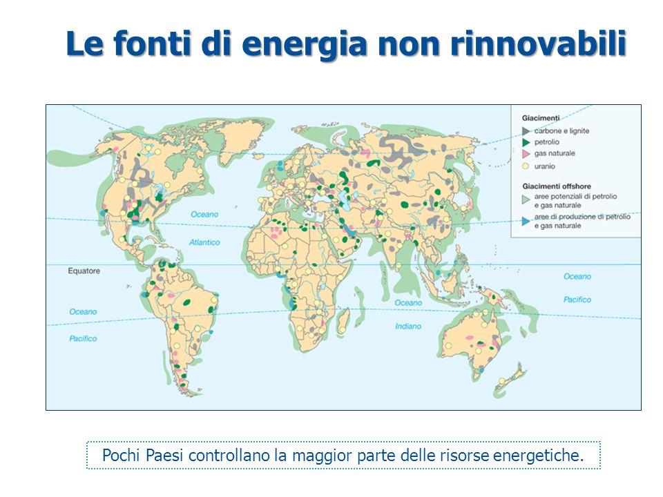 Le fonti di energia non rinnovabili Pochi Paesi controllano la maggior parte delle risorse energetiche.