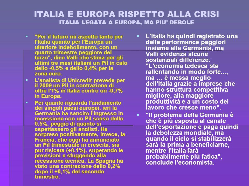 ITALIA E EUROPA RISPETTO ALLA CRISI ITALIA LEGATA A EUROPA, MA PIU DEBOLE   Per il futuro mi aspetto tanto per l Italia quanto per l Europa un ulteriore indebolimento, con un quarto trimestre peggiore del terzo , dice Valli che stima per gli ultimi tre mesi italiani un Pil in calo dello -0,5% e dello 0,4% per la zona euro.