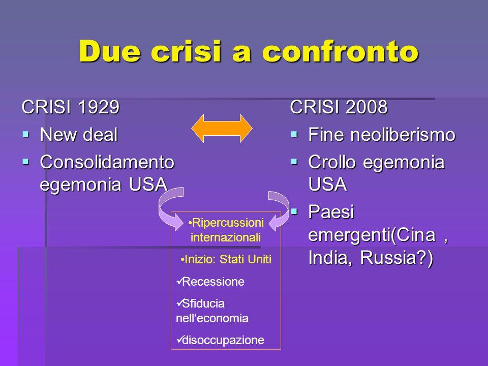 Due crisi a confronto CRISI 1929  New deal  Consolidamento egemonia USA CRISI 2008  Fine neoliberismo  Crollo egemonia USA  Paesi emergenti(Cina, India, Russia ) Ripercussioni internazionali Inizio: Stati Uniti Recessione Sfiducia nell'economia disoccupazione