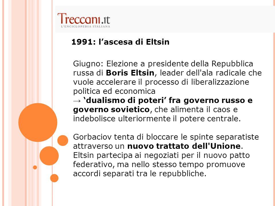 Giugno: Elezione a presidente della Repubblica russa di Boris Eltsin, leader dell'ala radicale che vuole accelerare il processo di liberalizzazione po