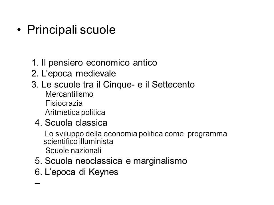 Principali scuole 1. Il pensiero economico antico 2.