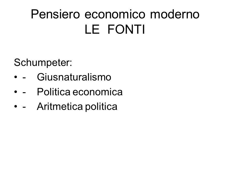 Pensiero economico moderno LE FONTI Schumpeter: -Giusnaturalismo -Politica economica -Aritmetica politica