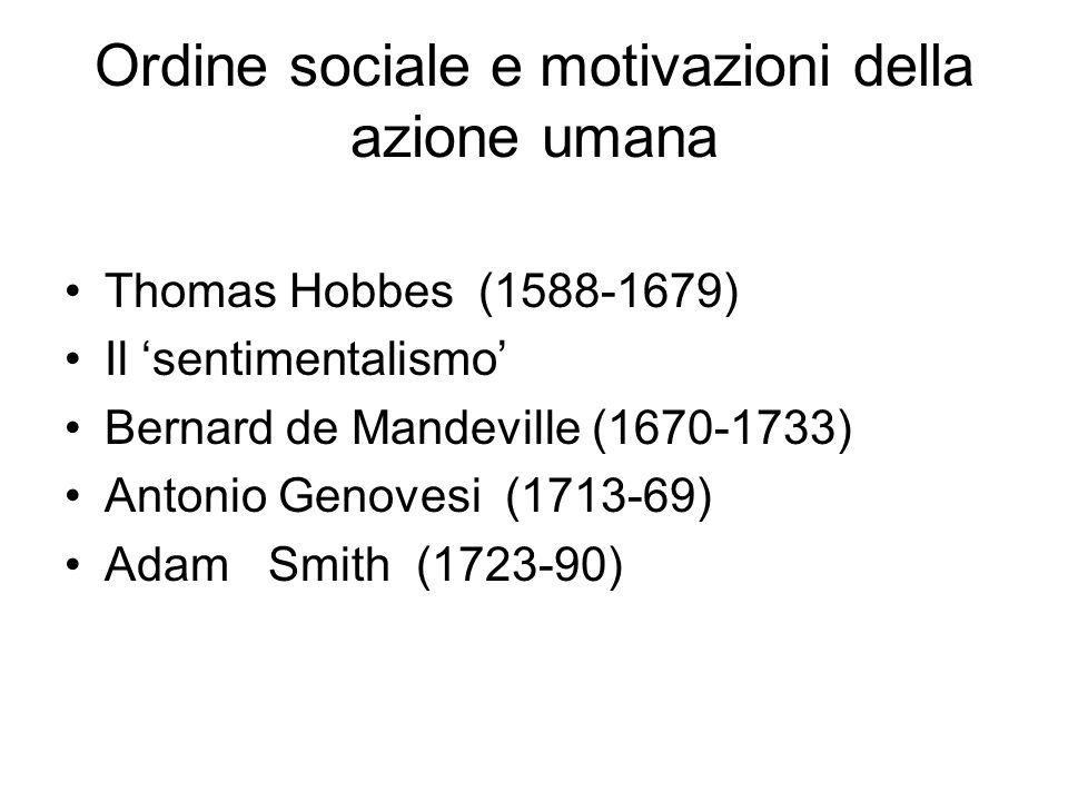 Ordine sociale e motivazioni della azione umana Thomas Hobbes (1588-1679) Il 'sentimentalismo' Bernard de Mandeville (1670-1733) Antonio Genovesi (1713-69) Adam Smith (1723-90)