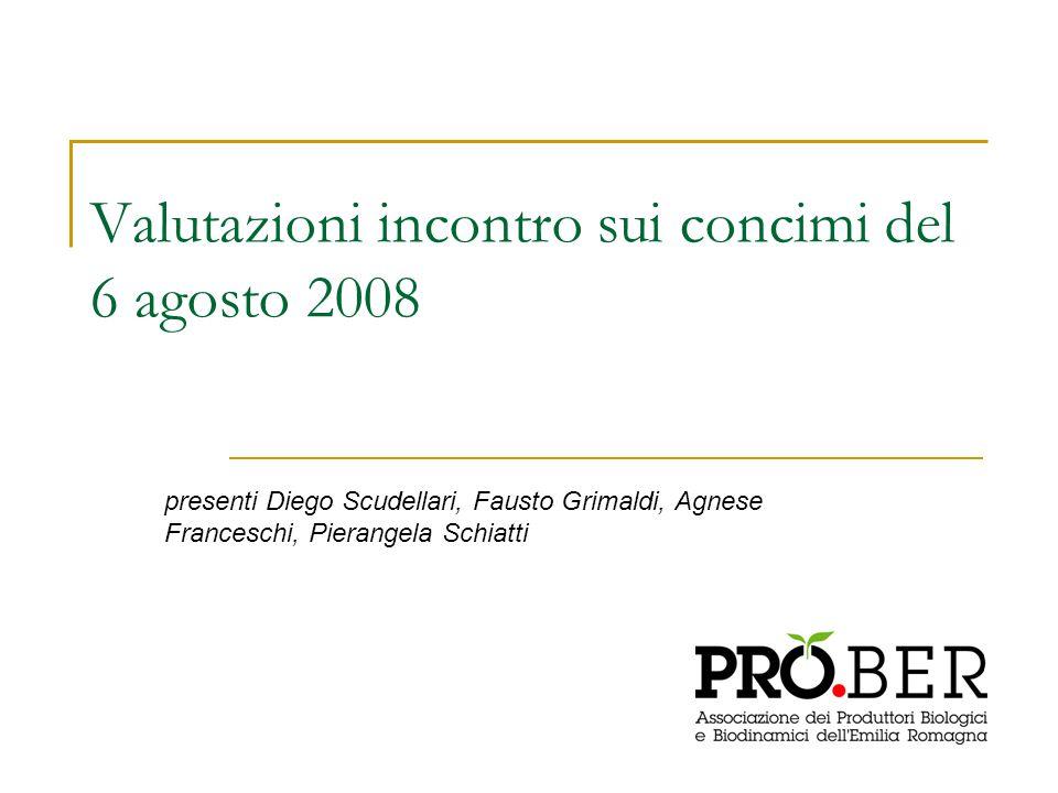 Valutazioni incontro sui concimi del 6 agosto 2008 presenti Diego Scudellari, Fausto Grimaldi, Agnese Franceschi, Pierangela Schiatti