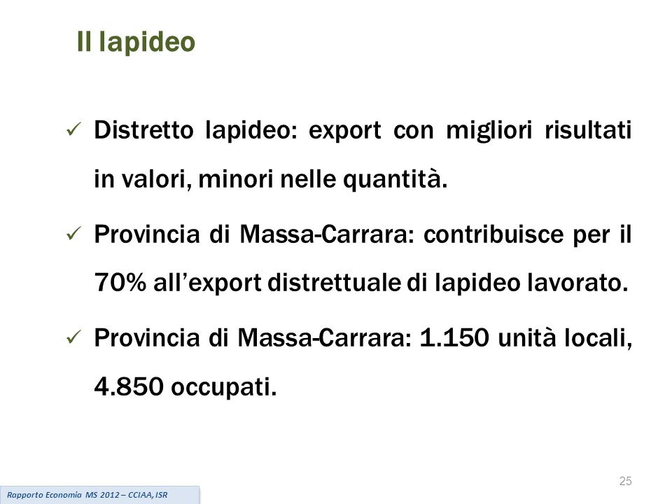 25 Il lapideo Rapporto Economia MS 2012 – CCIAA, ISR Distretto lapideo: export con migliori risultati in valori, minori nelle quantità.