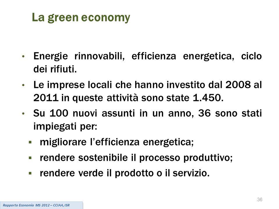 36 La green economy Rapporto Economia MS 2012 – CCIAA, ISR Energie rinnovabili, efficienza energetica, ciclo dei rifiuti.