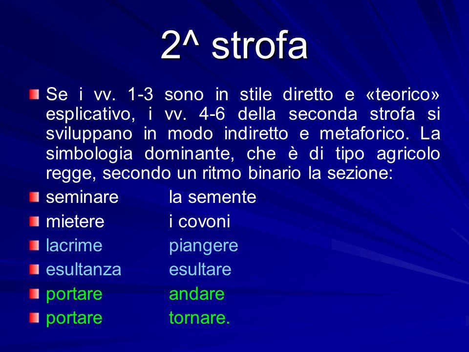 2^ strofa Se i vv. 1-3 sono in stile diretto e «teorico» esplicativo, i vv. 4-6 della seconda strofa si sviluppano in modo indiretto e metaforico. La