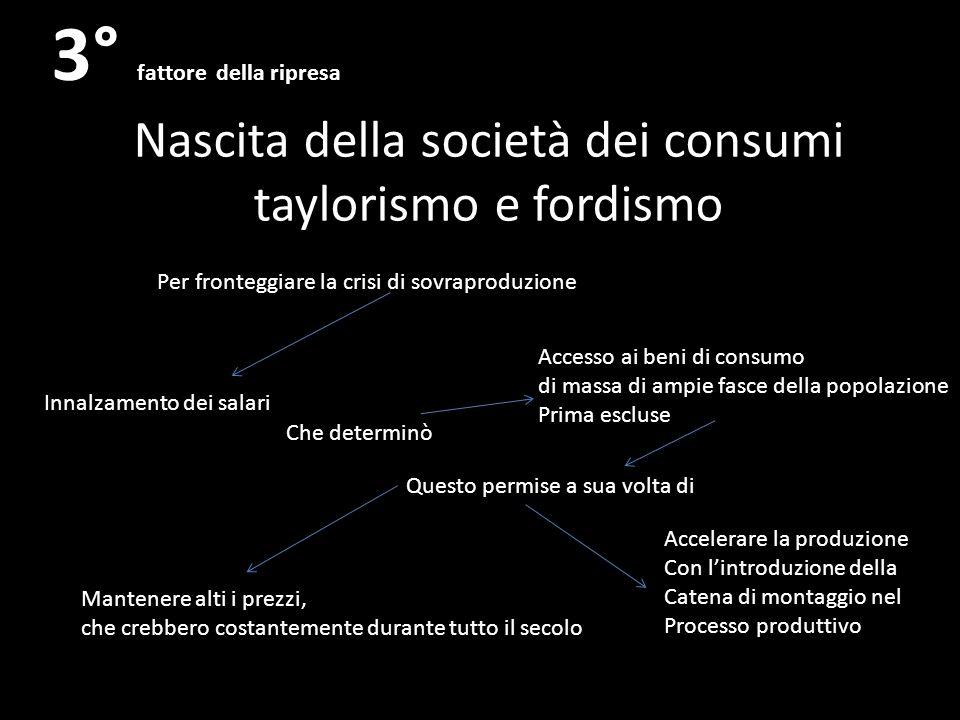 Nascita della società dei consumi taylorismo e fordismo 3° fattore della ripresa Per fronteggiare la crisi di sovraproduzione Innalzamento dei salari