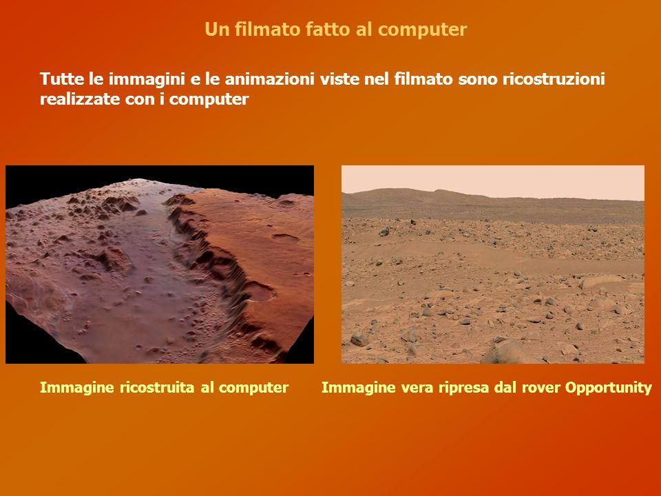 Un filmato fatto al computer Tutte le immagini e le animazioni viste nel filmato sono ricostruzioni realizzate con i computer Immagine ricostruita al computerImmagine vera ripresa dal rover Opportunity