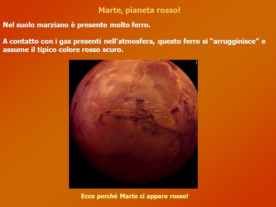 Marte, pianeta rosso! Ecco perché Marte ci appare rosso! Nel suolo marziano è presente molto ferro. A contatto con i gas presenti nell'atmosfera, ques