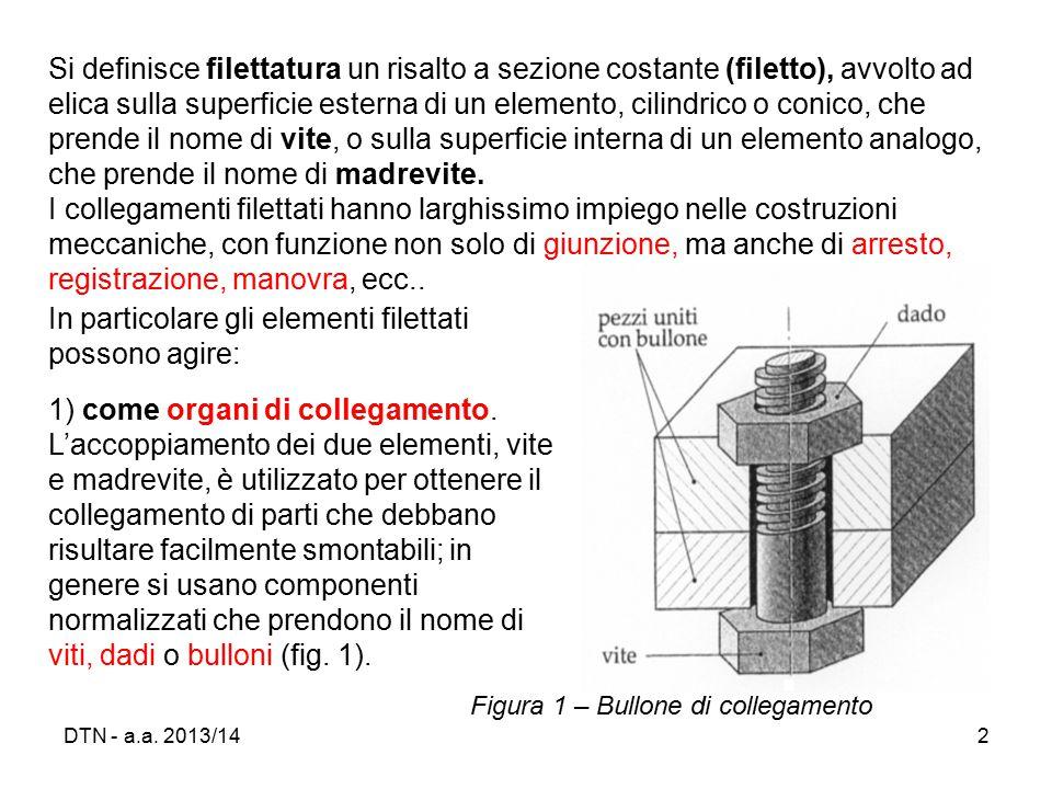 DTN - a.a. 2013/1423 Tabella 2 – Filettature metriche ISO a profilo triangolare a passo grosso