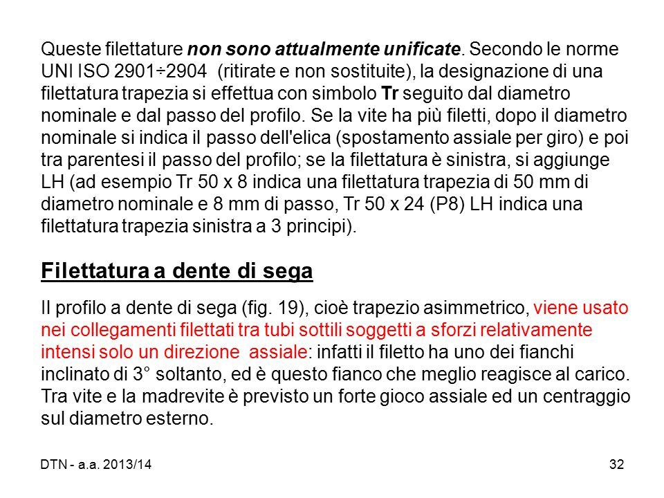 DTN - a.a.2013/1432 Queste filettature non sono attualmente unificate.