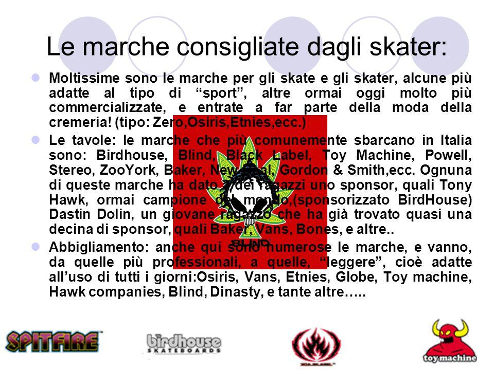 """Le marche consigliate dagli skater: Moltissime sono le marche per gli skate e gli skater, alcune più adatte al tipo di """"sport"""", altre ormai oggi molto"""
