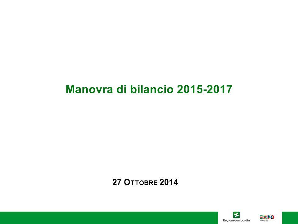 Manovra di bilancio 2015-2017 27 O TTOBRE 2014