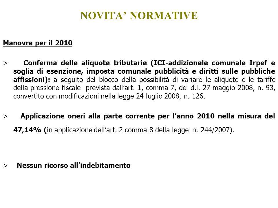 Manovra per il 2010 > Conferma delle aliquote tributarie (ICI-addizionale comunale Irpef e soglia di esenzione, imposta comunale pubblicità e diritti
