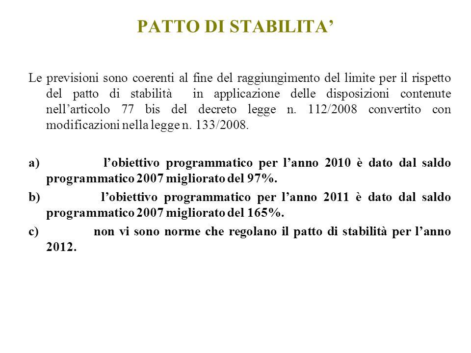 Le previsioni sono coerenti al fine del raggiungimento del limite per il rispetto del patto di stabilità in applicazione delle disposizioni contenute