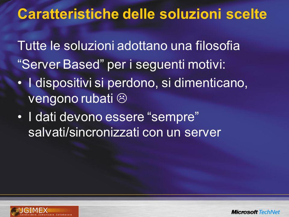 """Caratteristiche delle soluzioni scelte Tutte le soluzioni adottano una filosofia """"Server Based"""" per i seguenti motivi: I dispositivi si perdono, si di"""